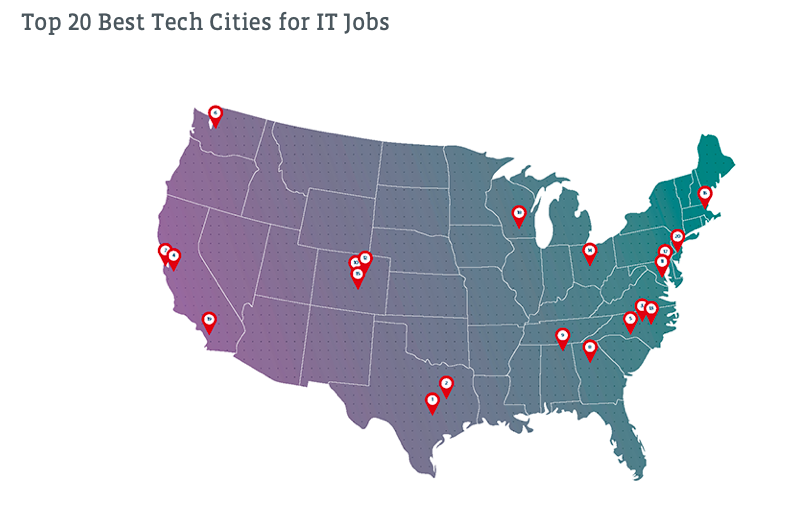 Map featuring pins of cities ranked highly for tech.